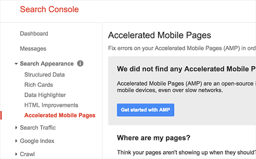 View Accelerated Mobile Pages in Google Search Console